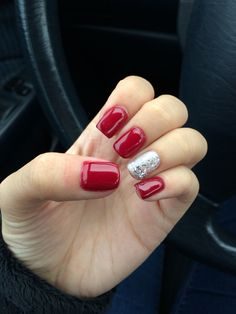 Red shellac with silver glitter accent nail