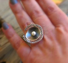 Sterling silver Pearl Ring organic form by mariastudio on Etsy