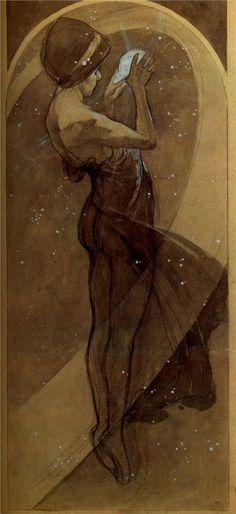 Alphonse Mucha - The Moon and Stars Series - North Star 1902
