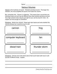 Sound Worksheet - Volume | Science | Pinterest | Science worksheets ...