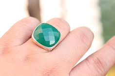 Faceted ring  Green ring  Gemstone ring  Sterling by Studio1980