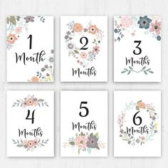 Baby Monthly Milestones, Baby Milestone Cards, Baby Cards, Kids Cards, Happy One Month, Baby Month Stickers, Mother Art, Gift Tags Printable, Baby Scrapbook