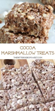 Cocoa Marshmallow Treats are a fun twist to traditional cereal treats! I've added in some chocolate cereal to take these to the next level!  | The Bitter Side of Sweet