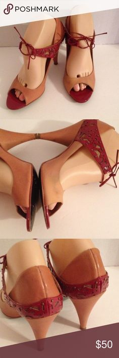 """Le due by Due Farina Anthropologie heels Super cute leather open toe heels with tie top closure. 4"""" heels, shoes show some use, however not that bad for the quality of shoes your getting. 1 of my favorite pair of shoes Anthropologie Shoes Heels"""