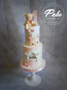 Cute bear by Petra Krátká (Petu Cakes) Baby Girl Cakes, Baby Birthday Cakes, Baby Shower Sweets, Baby Shower Cakes, Fondant Cakes, Cupcake Cakes, Double Barrel Cake, Teddy Bear Cakes, Teddy Bears