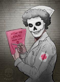 Hospital nurse (by Crane, Joker, Death, Sketches, Skulls, Drawings, Painting, Fictional Characters, Vintage