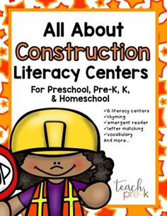 Construction Literacy Centers for the earliest learners! 6 center activities that have been classroom tested, are developmentally appropriate, and FUN! Letters, rhyming, emergent reader, vocabulary and more!Set Includes:12 Word Wall/Pocket Chart Construction vocabulary word cardsSound Sort Dump TrucksLowercase Letter clip cardsMark a Letter Upper, lowercase, and Mix with Alphabet flashcardsConstruction Tools Vocabulary Matching cardsConstruction Kids Rhyming CardsConstruction Trucks Emergent…
