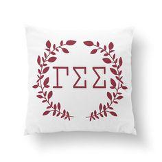 Gamma Sigma Sigma Wreath Pillow  10 or 16  Sorority by Sororitee