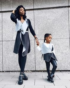 twinning is winning how cool is s matching outfit with her daughter? Every Woman, Matching Outfits, Shades Of Grey, My Mom, Twins, Wrap Dress, Women Wear, Normcore, Daughter