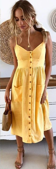 #winter #outfits yellow spaghetti strap dress #womenclothingwinter