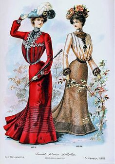An elegant pair of early Edwardian afternoon dresses (I especially like the ruby red one). #Edwardian #dress #fashion #1900s