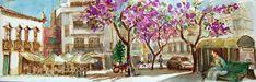 https://flic.kr/p/c4D6r3   croquis panoramique: Faro - Portugal   croquis au stylo à bille sépia sur place et aquarelle de retour / on location sepia ballpoint sketch, watercolour back home