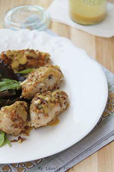 Pollo con nueces y vinagreta de mostaza y miel, Chicken with walnuts and honey mustard vinaigrette