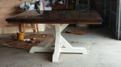 Farm square table with pedestal trestle bottom