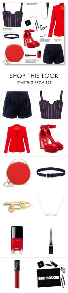 """""""Red & Navy blue #2"""" by pengy-vanou ❤ liked on Polyvore featuring 3x1, MaxMara, Alexander McQueen, Eddie Borgo, Lauren Ralph Lauren, J.W. Anderson, Chanel and Christian Louboutin"""