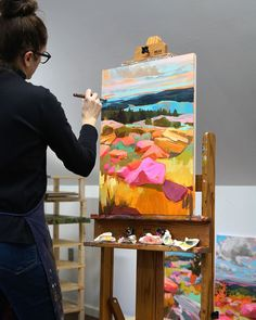 Using bold colors to paint her local landscape, Jess Franks' vibrant art is immediately recognizable. By day, Franks works as a magazine graphic designer Abstract Landscape Painting, Landscape Art, Landscape Paintings, Abstract Art, Painting Inspiration, Art Inspo, Acrylic Artwork, Art Plastique, Oeuvre D'art