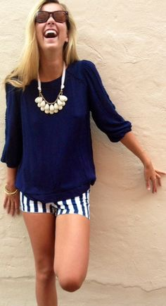 Full-On Navy Blue Outfit  Flowy Navy Blue Long Sleeve Top, Statement Bubble Necklace, and  Navy Blue and White Vertical Striped Shorts