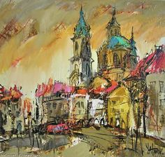 Artwork >> Sergey Yatnov >> Lesser Town Square (Oil On Canvas) - Inches x 28 Inches) Conceptual Art, Oil On Canvas, Original Art, Art Gallery, Drawings, Pictures, Painting, Artworks, Google Search