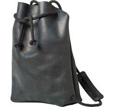 Womens Black Leather Minimal Rucksack | TOAST