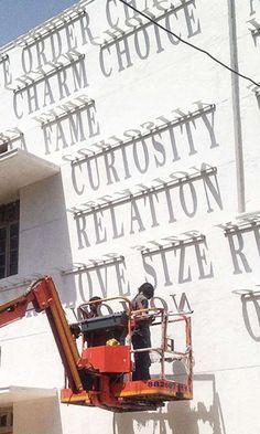 Indian Street Artist Daku Uses Typography and Shadows to Create Stunning Sundial Mural: Wayfinding Signage, Signage Design, Office Signage, Storefront Signage, Office Logo, Banner Design, Environmental Graphics, Environmental Design, Creative Advertising