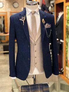 Collection: Fall – Winter Product: Slim-Fit Suit Available Size: Suit Material: wool, acrylic Machine Washable: No Fitting: Slim-Fit Cutting: Double Slits, Double Button Gifts: Shirt, Tie,. Blue Suit Wedding, Wedding Suits, Prom Suit Blue, Blue Suit Men, Black Suits, Plaid Suit, Wool Suit, Suit Vest, Mens Fashion Suits