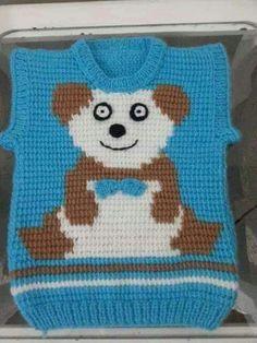 Bebek Tunisian Crochet Patterns, Baby Knitting Patterns, Free Knitting, Crochet Beanie, Knit Crochet, Crochet Hats, Pull Bebe, Knit Baby Sweaters, Denim Tote Bags