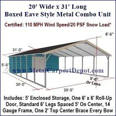 Eagle 20 x 31 Boxed Eave Style Metal Carport &. Portable Carport, Carport With Storage, Storage Shed Plans, Built In Storage, Diy Storage, Carport Sheds, Carport Garage, Carport Prices, Carports For Sale