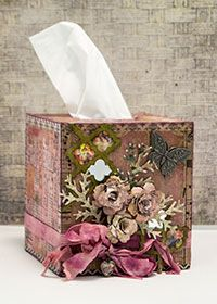 Tissue Box cover by Patti Behan features Ranger and Tim Holtz products.