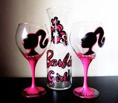 Barbie girl wine glass
