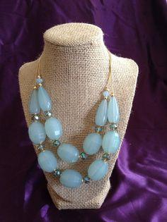 Translucent Aqua Statement Necklace and Earring Set via aladyloves.com