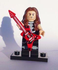 CUSTOM 100% LEGO ROCKER HEAVY METAL ROCK STAR w GUITAR skeleton shirt NO PAINT #LEGO