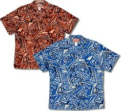 South Seas Traveled Polynesian Images Men's Hawaiian RJC Shirt created in Blue, Black and Orange. MauiShirts search box stock number : 102C-071