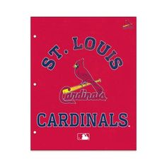 MLB St Louis Cardinals 2 Pocket Portfolio, Three Hole Punched, Fits Letter Size