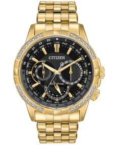 From the Citizen Eco-Drive® Calendrier collection, this men's chronograph watch features a black dial with day and date sub-dials, sub-dial. - Men& Citizen Eco-Drive® Calendrier Chronograph Diamond Accent Gold-Tone Watch with Black Dial (Model: Cool Watches, Watches For Men, Wrist Watches, Men's Watches, Analog Watches, Trendy Watches, Luxury Watches, Skeleton Watches, Citizen Eco