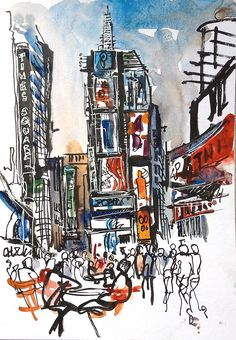 It doesn't get more touristy than Times Square. Can't say I understand why tens of thousands of tourists parade through it everyday. But it is super-fun to sketch. Next stop? Grand Cent…