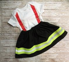 Firefighter Baby Girl WIDE Outfit BLACK with RED suspenders~~  Simply Sweet and Sewn