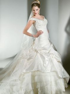 A Line  Off the shoulder Cathedral Train Satin Chiffon Wedding Dress