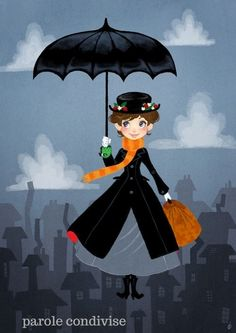 Mary Poppins remake by OlayaValle. She's practically perfect in every way, meaning all other Disney characters are INFERIOR! Walt Disney, Disney Magic, Disney Pixar, Disney Characters, Punk Disney, Disney Princesses, Mary Poppins, Disney Fan Art, Disney Love