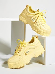 Dr Shoes, Goth Shoes, Swag Shoes, Shoes Jordans, White Nike Shoes, Yellow Shoes, Yellow Sneakers, Chunky Shoes, Chunky Sneakers