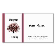 $25. GENEALOGY PROFILE CARD Double-Sided STANDARD BUSINESS CARDS (Pack OF 100)