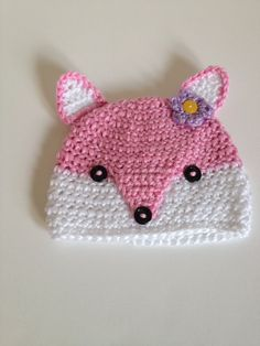 Crochet Baby Hat Pink Fox 03 Months by SevenSkeins on Etsy, $20.00