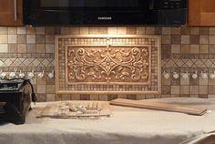 decorative accent tiles installed in ceramic kitchen backsplash, | Andersen Ceramics