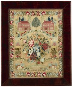 Elizabeth Garrison - Pittsgrove, Salem County, New Jersey - 1844. Worked in wool on linen. Sold for 25,000 USD