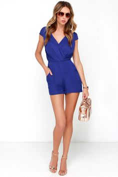 Across the Way Royal Blue Romper at Lulus.com!