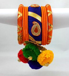 Multicolor-Garba-Dandiya-Silk-Thread-Bangles-Kada-Set-2-6-with-Hangings-16091404