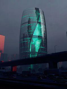vista nocturna. Rascacielos Leeza SOHO por Zaha Hadid Architects. Fotografía © MIR