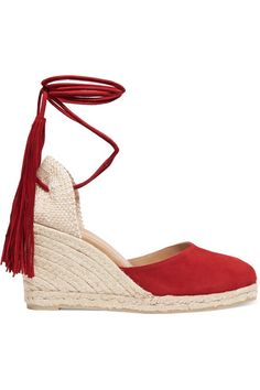 Wedge heel measures approximately 80mm/ 3 inches Red suede Ties at ankle Imported