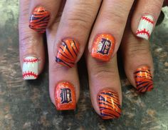 Detroit Tigers Nails #Tiger stripes #Detroit tigers #Baseball nails