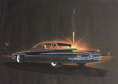 "6. George Krispinsky, Plymouth Fury 1958. As were so many Americans in the 1950s, George Krispinsky was enamored with the emerging ""Space-Age"" and the promise that the future held. Drawn in 1958, the artist signed his initials GK-62 on the license plate the 62 represents the proposed model year 1962."