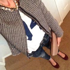 Instagram @headedoutthedoor #ootn | #oldnavy t-shirt and flats | #gap jacket | #vigossusa jeans | #jcrew clutch and navy necklace | #jcrewfactory necklace | #hm bracelets